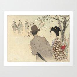 Man with bowler hat and umbrella and lady in kimono - Takeuchi Keishu (1900 - 1925) Art Print