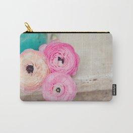 Pink Ranunculus Bouquet mint green Carry-All Pouch