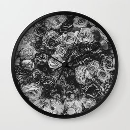 Flower Wall // Black and White Flat Floral Accent Background Jaw Dropping Decoration Wall Clock