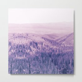 pastel purple pine forest and wooded area nature landscape print Metal Print