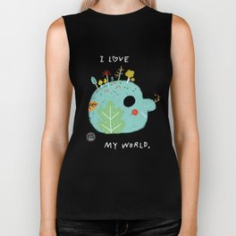 I Love My World Biker Tank