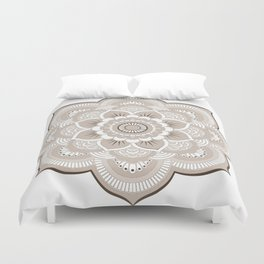 Beige & White Mandala Duvet Cover