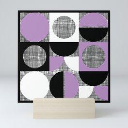 Segments and Circles Black Purple Mini Art Print