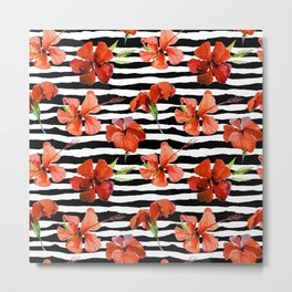 Hibiscus flower and stripes pattern Metal Print