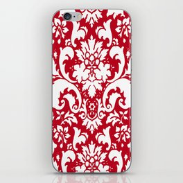 Paisley Damask Red and White Pattern iPhone Skin