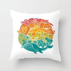 Animal Rainbow Throw Pillow