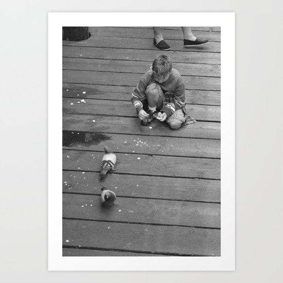 Pigeons with Little Kid Art Print