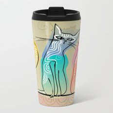 cute cats in love sitting on a roof Metal Travel Mug