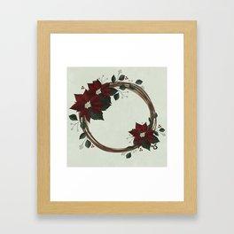Vintage Poinsettia Wreath Framed Art Print
