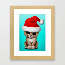 Christmas Lion Wearing a Santa Hat Framed Art Print