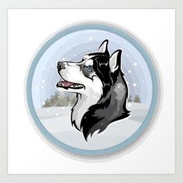 dog in snow Art Print