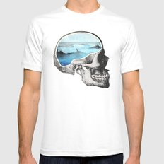 Brain Waves White Mens Fitted Tee LARGE
