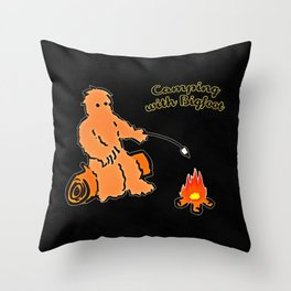 Camping With Bigfoot Throw Pillow