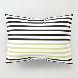 Black and White and Gold Stripes (Striped Pattern) Pillow Sham