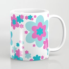 Teal Blue and Hot Pink Floral Coffee Mug