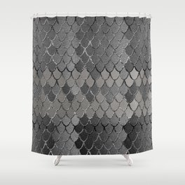 Mermaid Scales Silver Gray Glam #1 #shiny #decor #art #society6 Shower Curtain