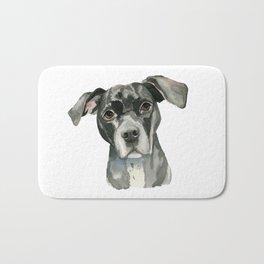 Black Pit Bull Dog Watercolor Portrait Bath Mat
