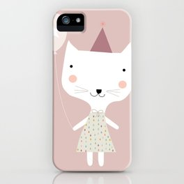 cute kitty cat with balloon iPhone Case
