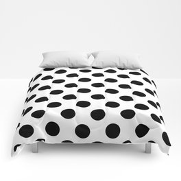 Black and White Medium Polka Dots Comforters