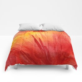 Red Orange Abstract Watercolor Texture, Poppy Flower Comforters