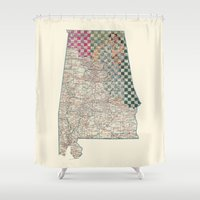 alabama Shower Curtains featuring Alabama by judy lee