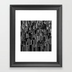 Tall city B&W inverted / Lineart city pattern Framed Art Print