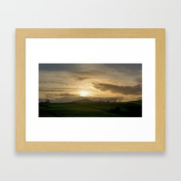 Sunset Flock Framed Art Print