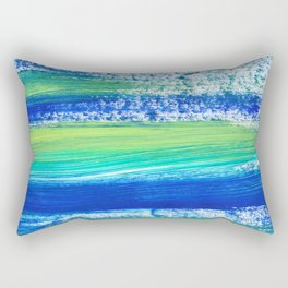 Blue Green and Teal Brushstrokes Rectangular Pillow