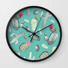 Cactus Pattern | Cacti Print Hot Pink onTeal Wall Clock