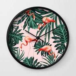 Summer Flamingo Jungle Vibes #1 #tropical #decor #art #society6 Wall Clock