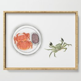 Watercolor Illustration | Chinese Cuisine | Hairy Crab | 大闸蟹 Serving Tray