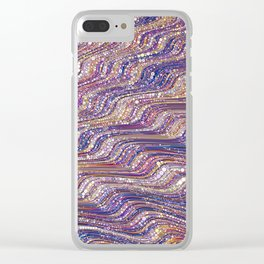 tia - abstract wave design in cool tones champagne pink blue mauve purple Clear iPhone Case