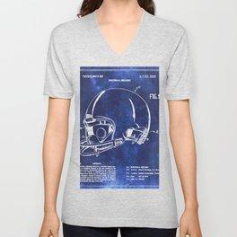 Football Helmet Patent Blueprint Drawing Unisex V-Neck