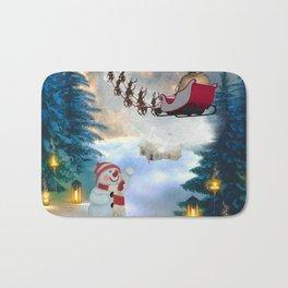 Christmas, snowman with Santa Claus Bath Mat