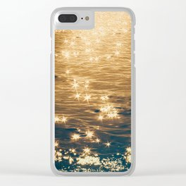 Sparkling Ocean in Gold and Navy Blue Clear iPhone Case