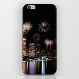 Chicago night skyline with fireworks. iPhone Skin