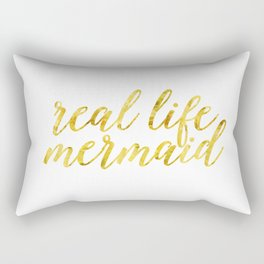 real life mermaid in gold Rectangular Pillow
