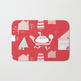 Santa is in Town Red #Holiday #Christmas Bath Mat