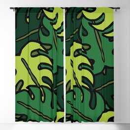 Monstera Leaf Pattern Blackout Curtain
