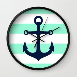 NAVY ANCHOR ON MINT Wall Clock