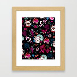 Lucky Cat Maneki Neko , Dragons and Koi fish Framed Art Print