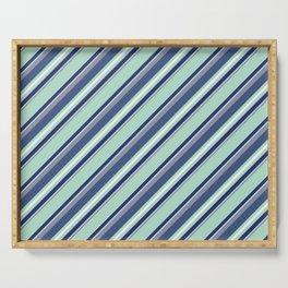 Fun Diagonal Stripes Blue Serving Tray