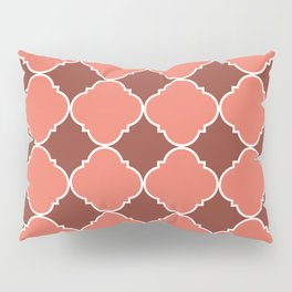 Living Coral and Mauve Moroccan Tile Ornamental Pattern with White Border Pillow Sham