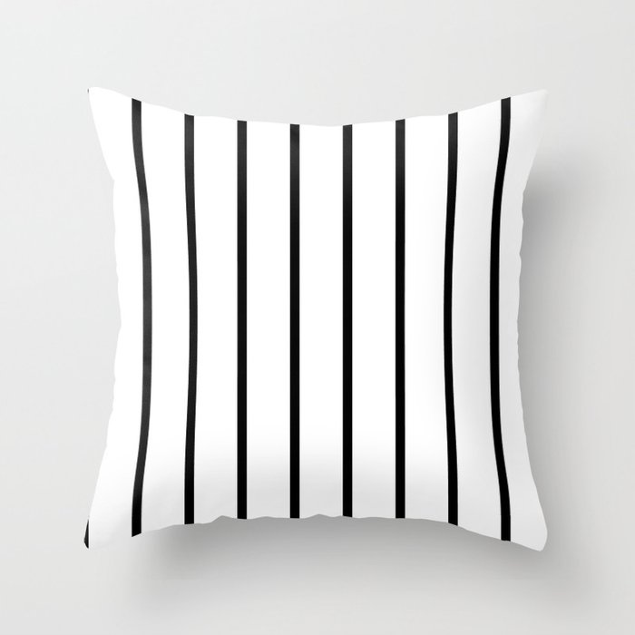 Vertical Lines (Black & White Pattern) Throw Pillow