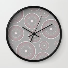 CONCENTRIC CIRCLES IN GREY (abstract pattern) Wall Clock