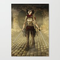 mikasa Canvas Prints featuring Mikasa by Tracey T