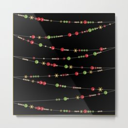 Merry Christmas . Beads Decoration . Metal Print