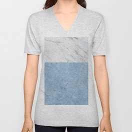Porcelain blue and white marble Unisex V-Neck