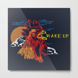 Wake Up Monoline Rooster Graphic Metal Print