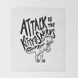 The Attack of Kitty-o-Saurus! Throw Blanket
